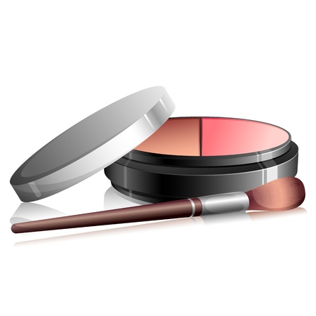 blush: illustration of eye shadow kit with brush