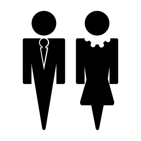 illustration of man and woman sign in black on isolated background Stock Vector - 11275748
