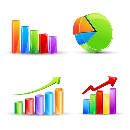 upward graph: illustration of different bar graph and pie chart