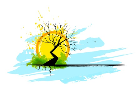 illustration of dry tree with sunset backdrop Vector