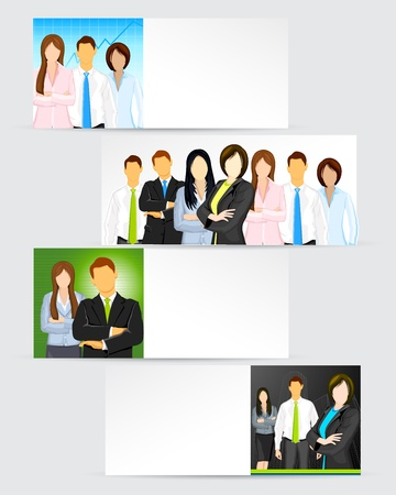 coworker banner: illustration of business man on corporate template