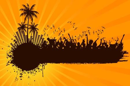 fiesta en la playa: ilustraci�n de la multitud en fiesta en la playa