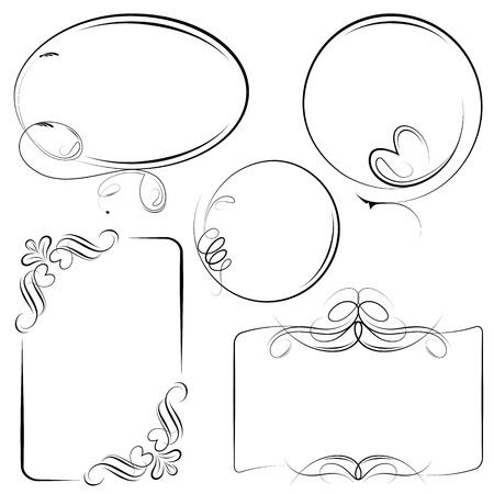 illustration of vintage style floral frame in different shape Vector