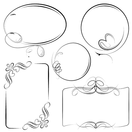 round: illustration of vintage style floral frame in different shape