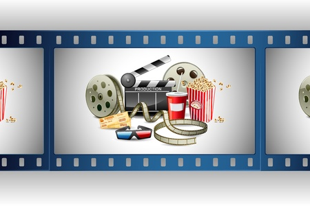 directors: illustration of colorful film reel with pop corn,reel and clapper board