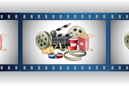 board of director: illustrazione della bobina di film colorato con pop corn, bobina e ciak
