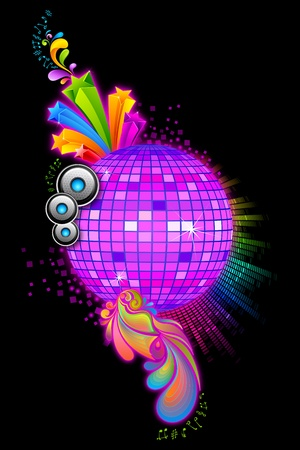illustration of colorful disco ball with floral swirl Stock Photo