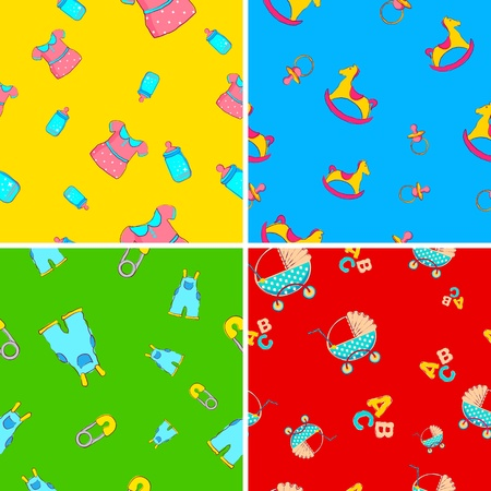illustration of set of baby wallpaper in different color Vector