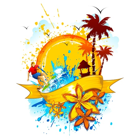 illustration of beach with splashing wave and palm tree Vector
