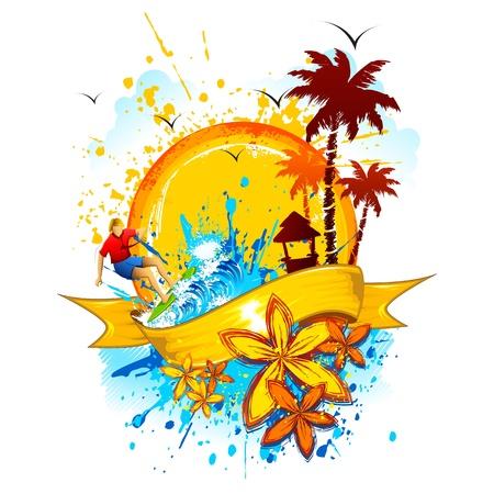 ilustraci�n de la playa con olas y las salpicaduras de palmeras Vectores