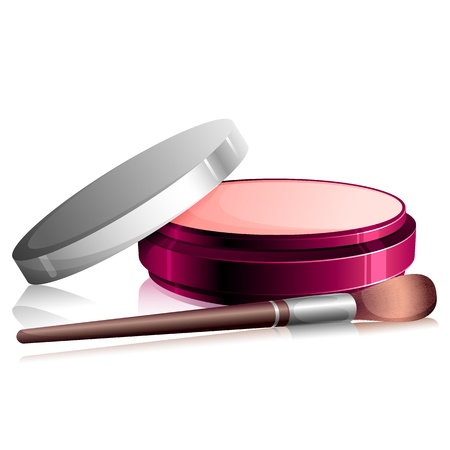 make up woman: illustration of face powder with beauty brush Illustration