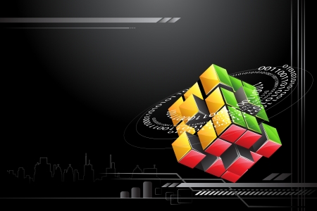 cube puzzle: illustration of abstract colorful block on technology background