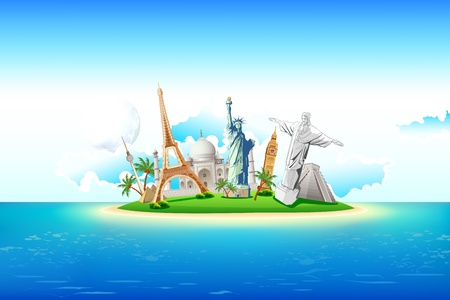 world travel: illustration of world famous monument on island in sea