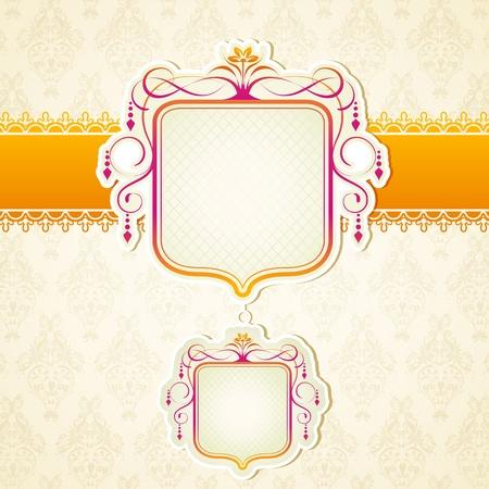 wedding reception: illustration of lace ribbon on retro background