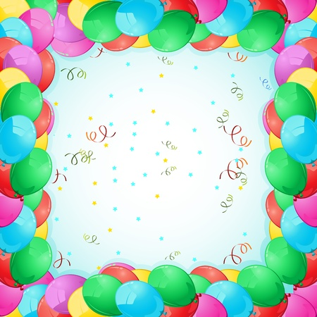 illustration of birthday card with colorful balloon frame Vector