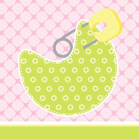 paper pin: illustration of Baby Arrival Card with bib on pattern background