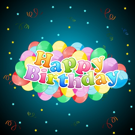 illustration of birthday text with colorful balloon Vector