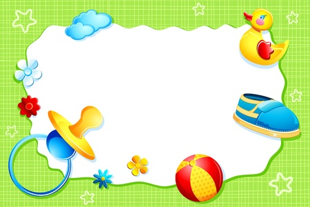 scrapbook frame: illustration of baby arrival card with baby element