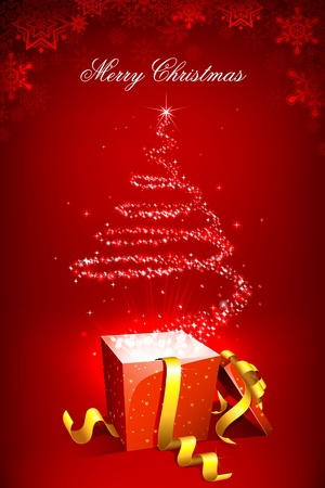 illustration of christmas tree forming form star coming out of gift box illustration