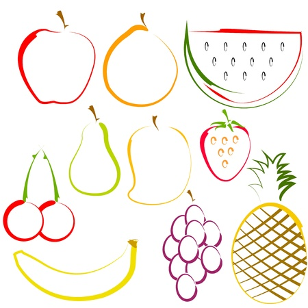 mangoes: illustration of different colorful fruits in line art Illustration