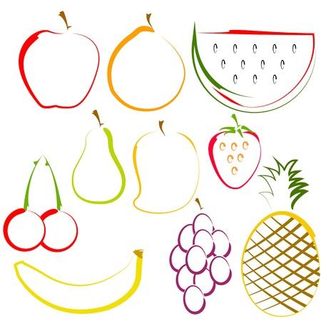 pineapples: ilustraci�n de diferentes frutas de colores en el arte de l�nea