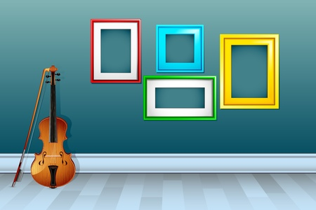 mozart: illustration of violin withl empty frame on wall Illustration