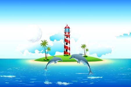 illustratie van uitzicht op zee met springen dolfijn en de vuurtoren op eiland