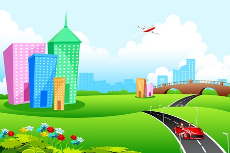 flyover: illustratie van de stad, landschap met weg-en hoge gebouwen Stock Illustratie