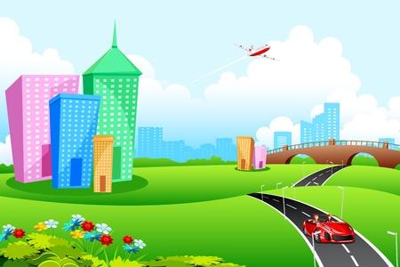 illustration de paysage de la ville avec la route et grand bâtiment Vecteurs
