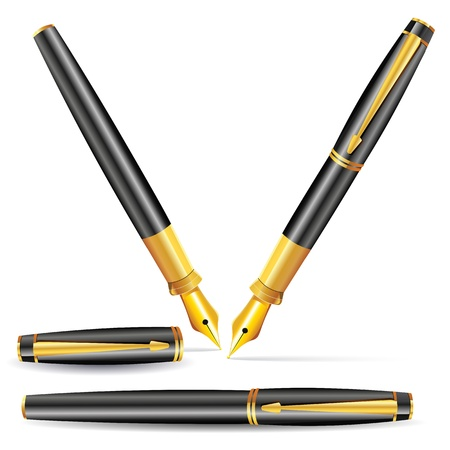 illustration of fountain pen in different position Vector