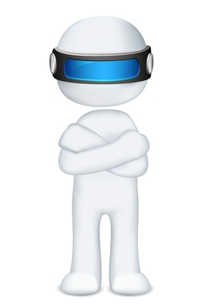 scalable: illustration of 3d man in vector fully scalable standing hand folding