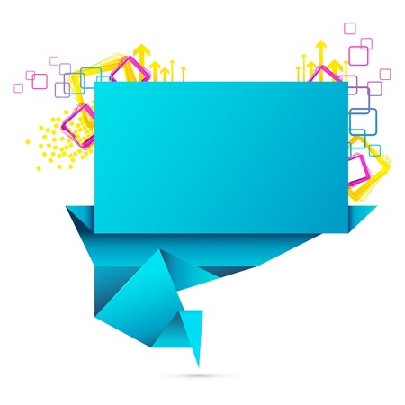 illustration of origami speech bubble with colorful element Vector