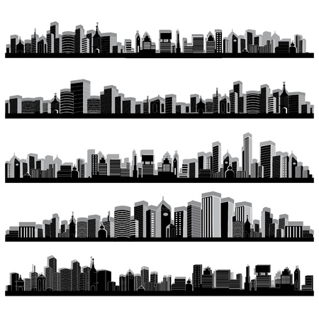 townscape: illustration of set of cityscape silhouette on white background