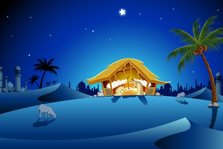 illustration of nativity scene showing birth of Jesus Vector