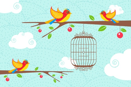 illustration of cute birds sitting on tree with hanging bird cage Vector
