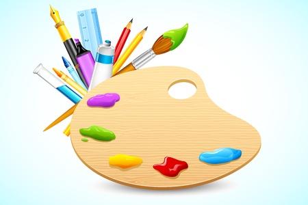 illustratie van kleurenpalet met briefpapier op abstracte achtergrond Vector Illustratie