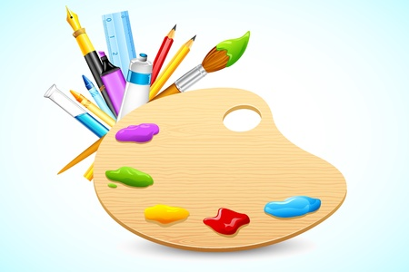 illustration of color palette with stationery on abstract background