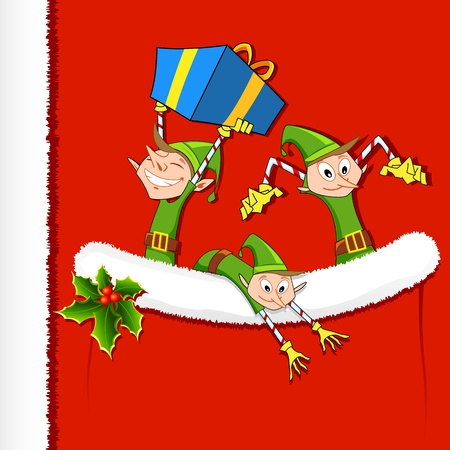 illustration of Elf throwing gifts from Santas pocket Vector