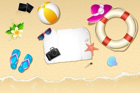 lifebouy: illustration of lifebouy,ball and slipper on sea beach Stock Photo
