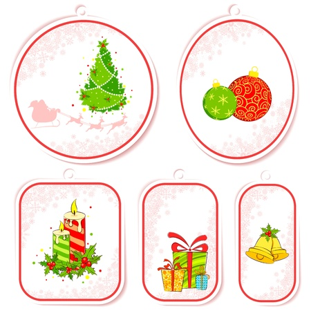 illustration of set of christmas tag in different shape Stock Illustration - 11376702