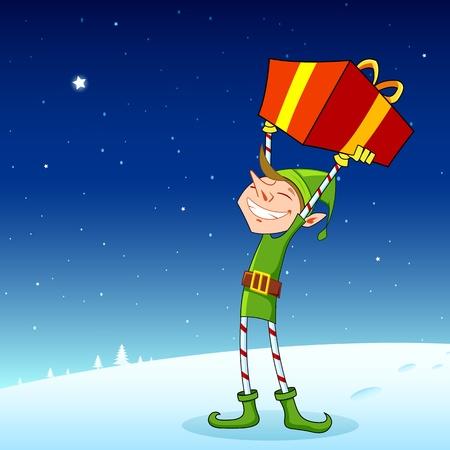 green elf: illustration of elf holding gift box in snowy landscape