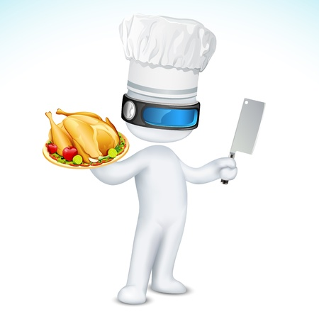 chicken dish: illustration of 3d cook in vector fully scalable standing with dish and knife Stock Photo