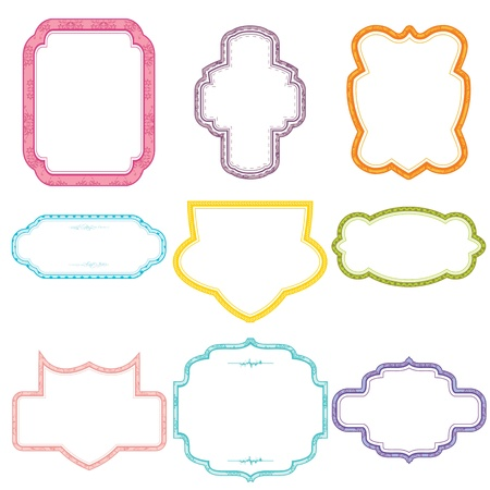 illustration of set of colorful floral frame on white background Vector
