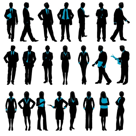 women talking: illustration of set of silhouette of business people on isolated background