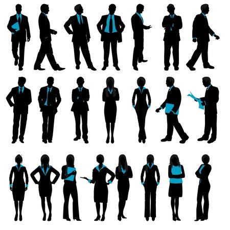 person thinking: Ilustraci�n de un conjunto de siluetas de personas de negocios en el fondo aislado