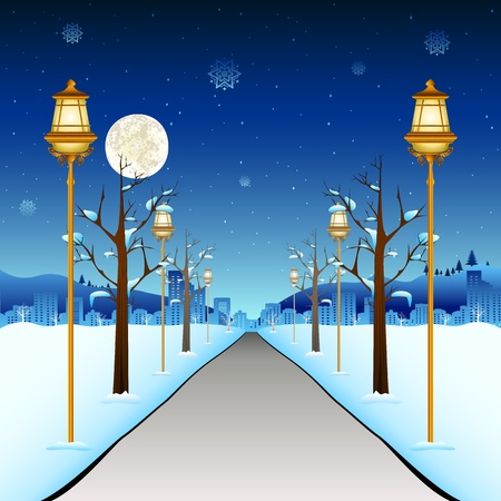 lampposts: illustration of street with lamp post in winter season