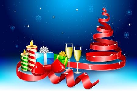 illustration of tree shape ribbon around christmas gift Stock Illustration - 11376699
