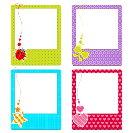 photo frame: illustration of colorful photo frame with cute element