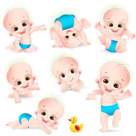 Illustration der Satz von cute baby tut verschiedenen Aktivitäten auf weißem Hintergrund Vektorgrafik