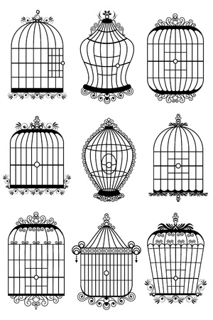 confined: illustration of set of different style bird cage Illustration